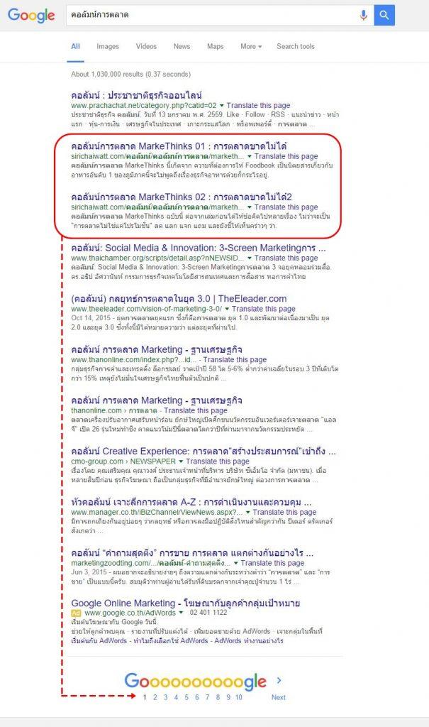 การตลาดออนไลน์ ติดหน้าแรก google seo